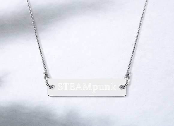 STEAMpunk Engraved Silver Bar Chain Necklace