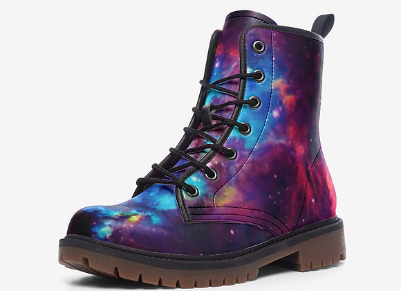 Space Galaxy Purple Blue Leather Combat BNoots