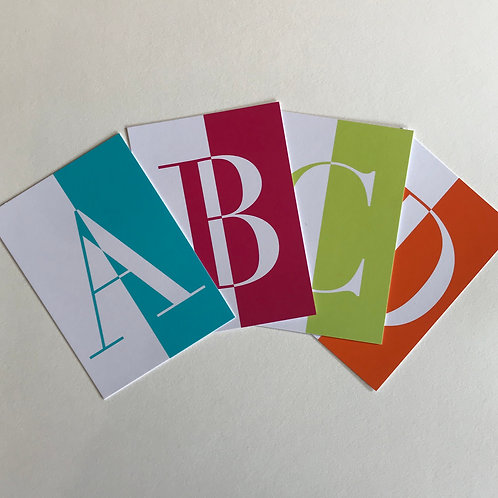 Alphabet cards (pack of 10 cards in upper case)