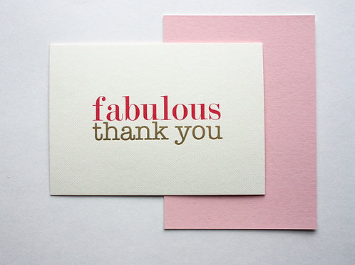 Luxury gold foiled fabulous thank you cards (pack of 8)