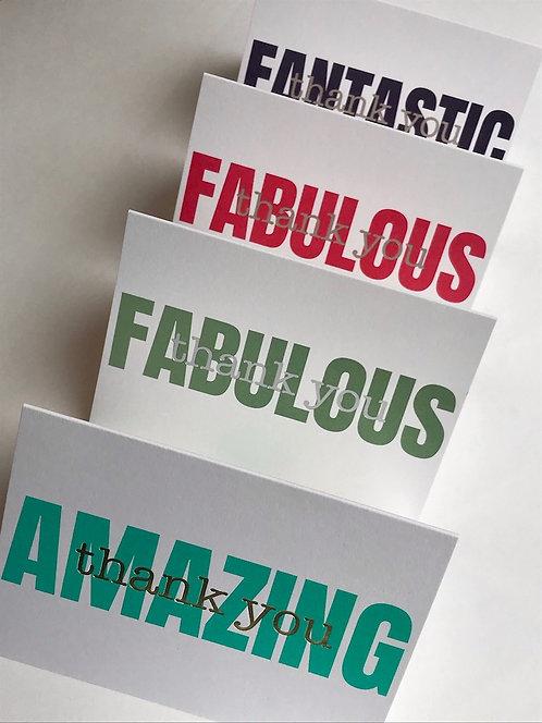 FABULOUS, FANTASTIC, AMAZING thank you cards