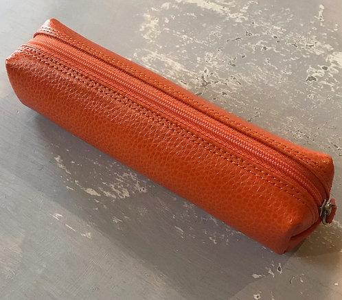 Leather pencil case - MANDARIN