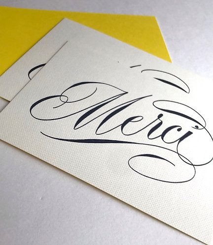 Luxury script merci cards