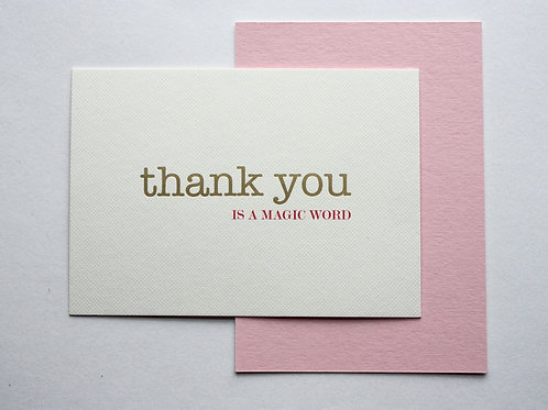 Luxury gold foiled magic word thank you cards (pack of 8)