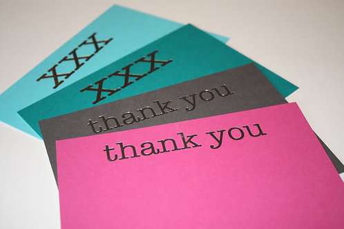 Luxury silver foiled kisses and thank you cards (mixed pack of 8)