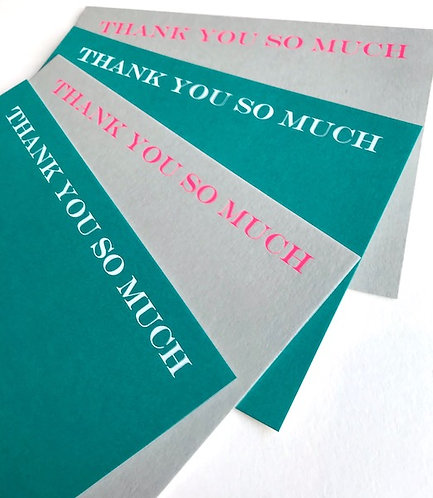 Luxury neon foiled THANK YOU SO MUCH cards (pack of 8)
