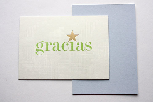 Luxury gold foiled gracias cards (pack of 8)