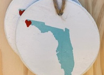 "Florida with Heart 3"" Ornaments from Vendor 112"