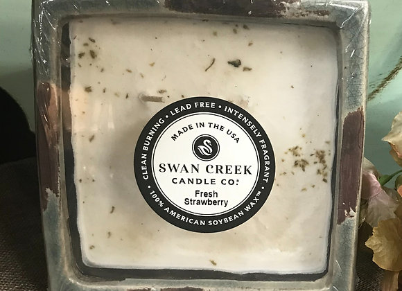 Swan Creek Lg Square Pottery Candle