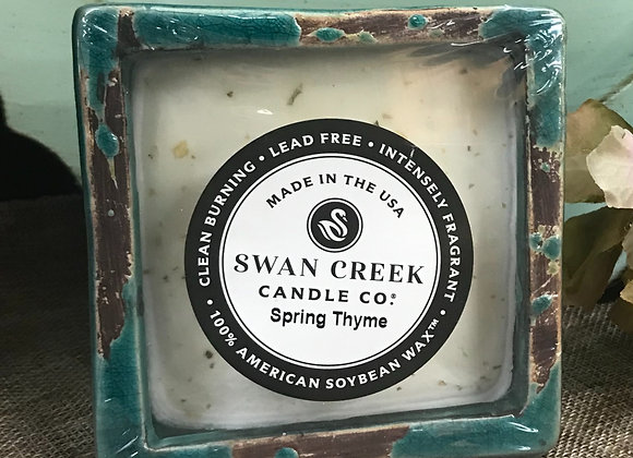 Swan Creek Sm Square Pottery Candle