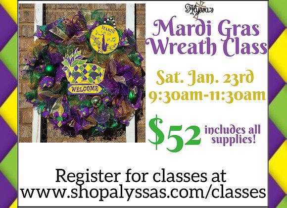 Mardi Gras Wreath Class  Jan. 23rd 9:30-11:30am