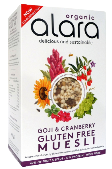 Alara Organic Gluten Free Muesli 450g with Goji Berries and Cranberry