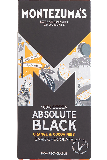 MONTEZUMAS ABSOLUTE BLACK WITH ORANGE & COCOA NIBS CHOCOLATE BAR - 90G