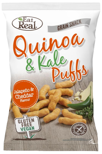 Eat Real Quinoa & Kale Puffs with Jalapeno & Cheddar 113g
