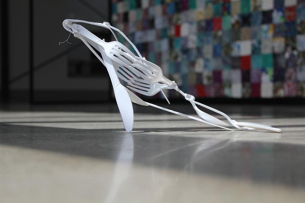 whale art cutlery plastic scupture