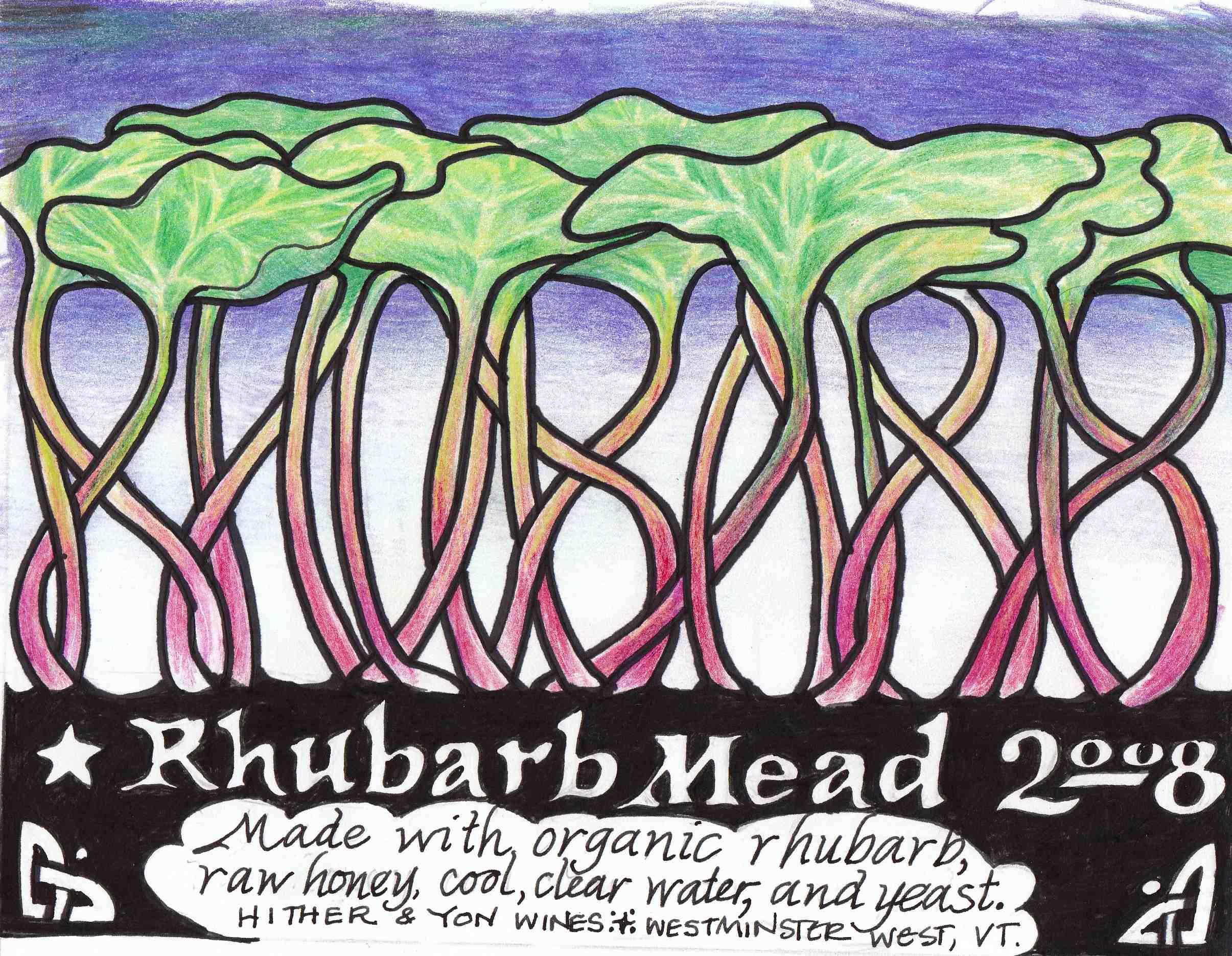 Rhubarb Mead label