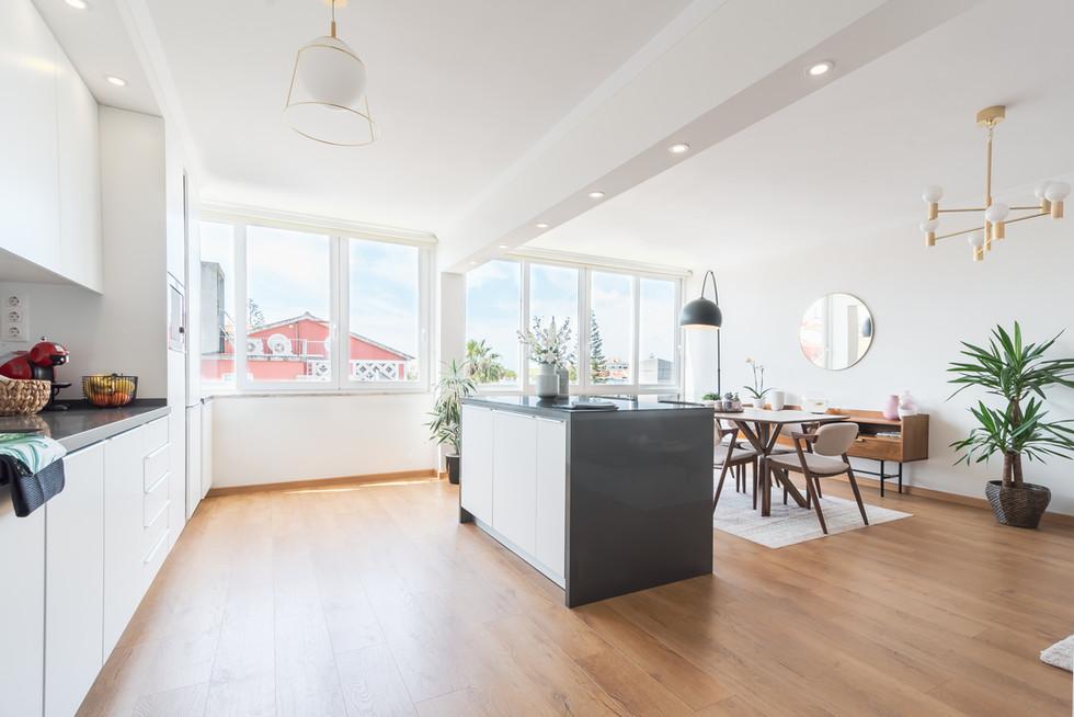 cozinha em open space e ilha