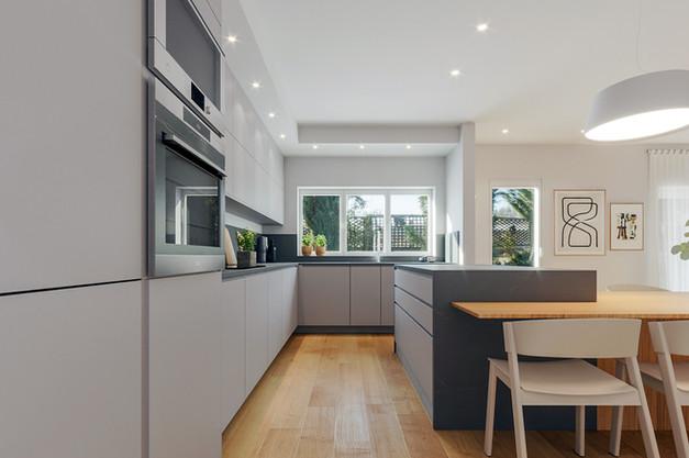 cozinha renovada com portas lacadas em cinza claro e ilha