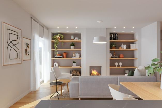 Sala de estar com lareira e estante feita por medida