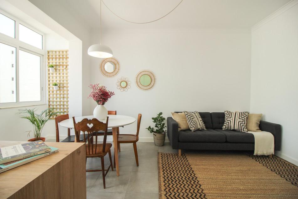 Design de interiores de sala de estar e jantar