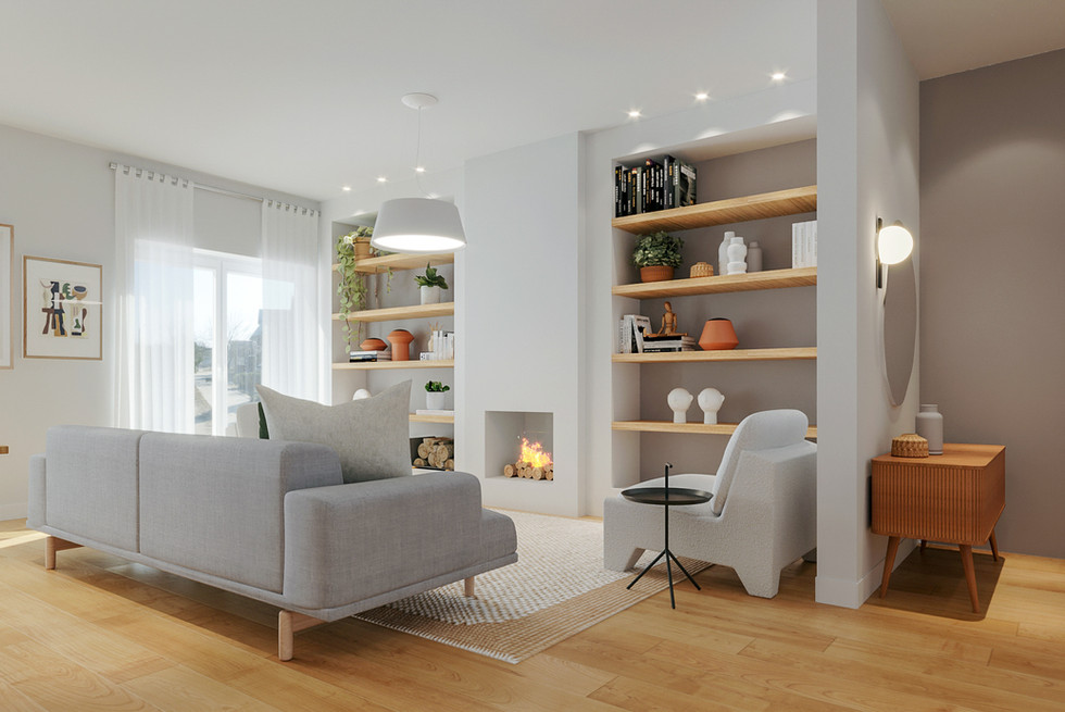 Decoração de sala de estar e estante feita por medida