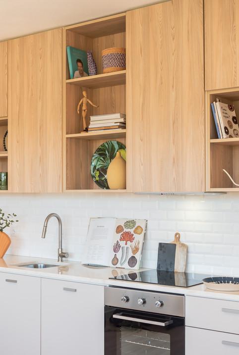 Cozinha apartamento de praia