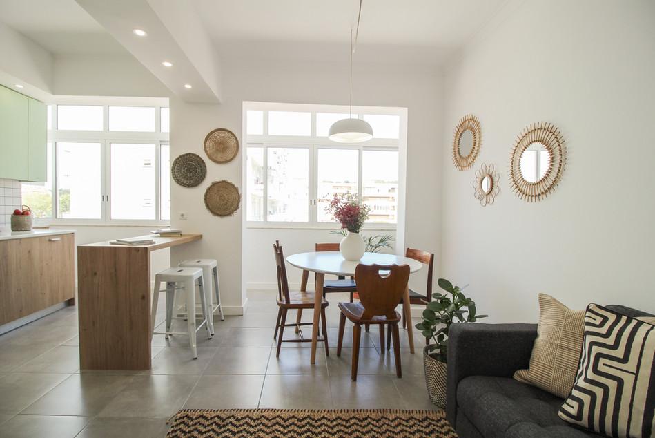 Design de interiores de sala de jantar e coziha