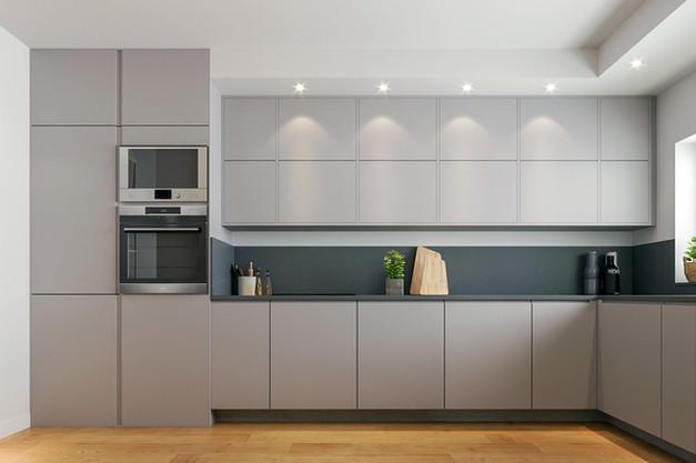 cozinha renovada com portas lacadas em cinza claro