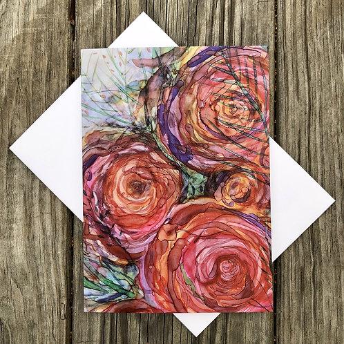 Pink Roses : Greeting Card