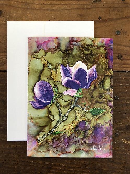 Purple Magnolia : Greeting Card