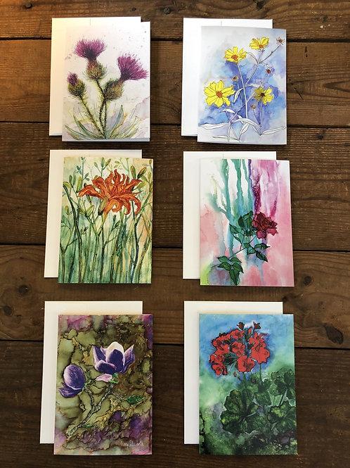 Box Set of 6 Greeting Cards: Thistles, Daylily, Rose, Magnolia, Geranium