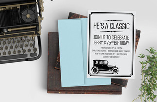 he's a classic birthday party invitation