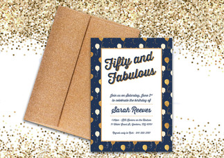 fifty and fabulous birthday party invitation