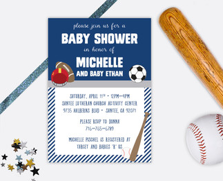sports baby shower invitation baby boy invitation it's a boy