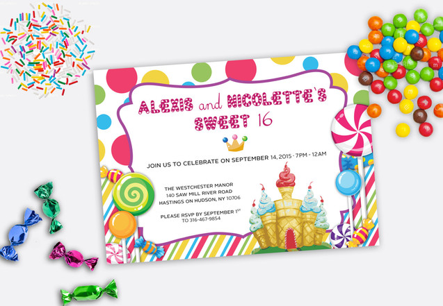 candyland sweet 16 party invitation
