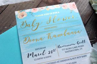 gold foil baby shower invitation