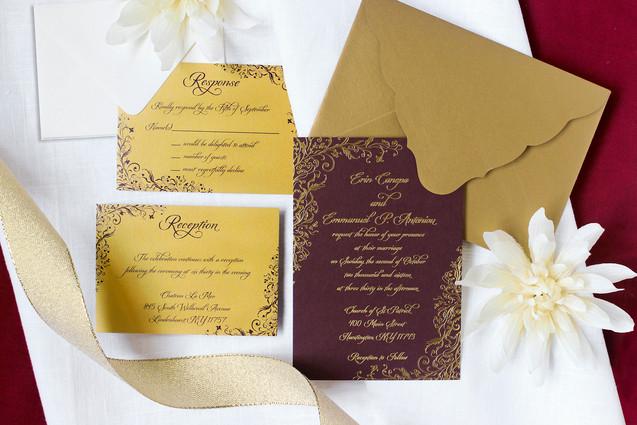 burgindy fall wedding invitation