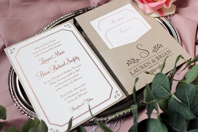 rose gold foil wedding invitation