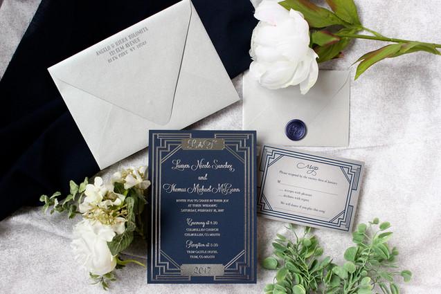 art deco letterpress invitation