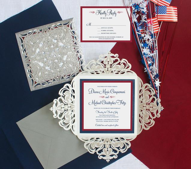 fourth of july wedding invitation