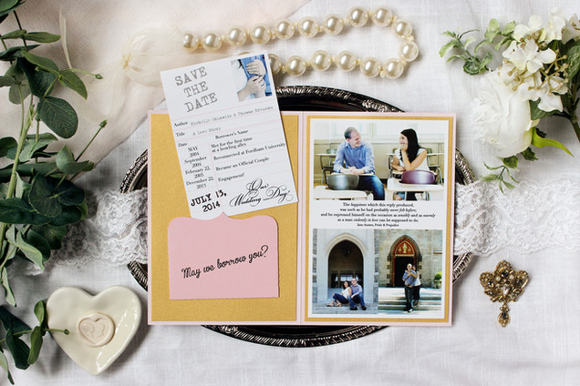 book themed save the date