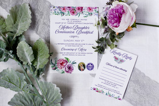 floral communion breakfast invitation