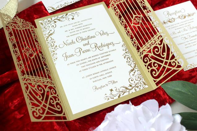 lasercut gold foil wedding invitation