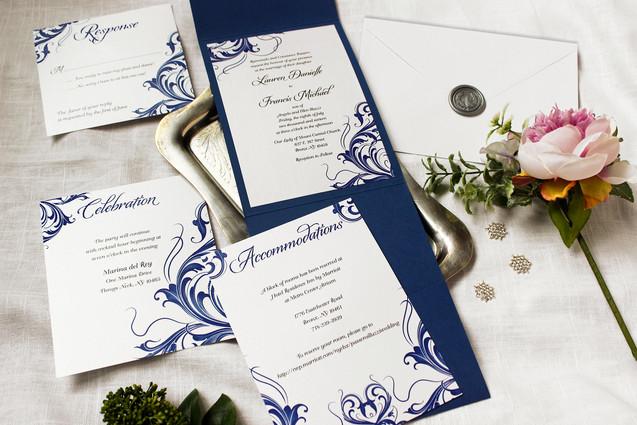 flourished wedding invitation