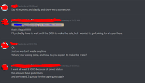 Runescape player moderator attempting to sell account on discord