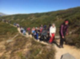 Elever p vandring under leirskole opphold på Rondeheim -den Norske Fjellskolen på Høvringen ved foten av Rondane Nasjonalpark