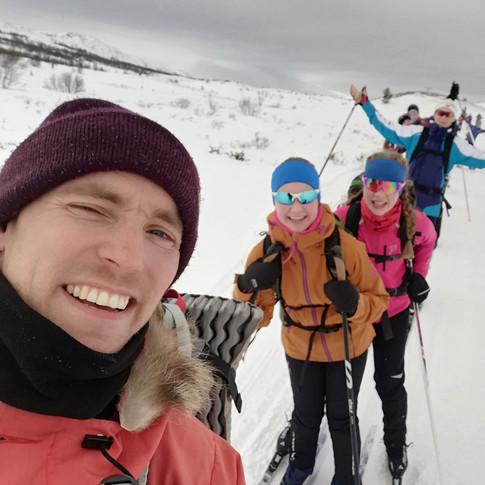 Glade skigåere