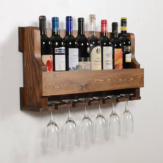 Low-alcohol wine on a wall-mounted rack