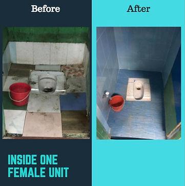 Hand Washing inside female toilet