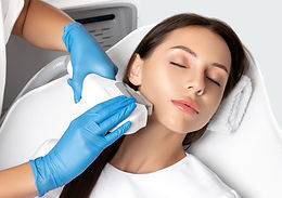 Elos epilation hair removal procedure on the face of a woman. Beautician doing laser rejuv